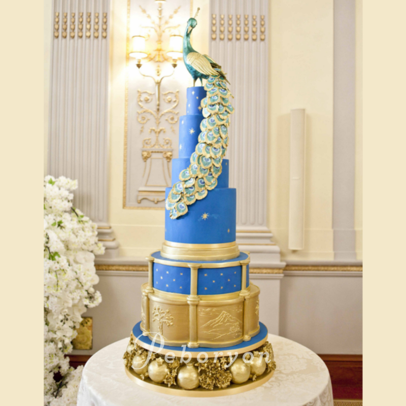2018-Peboryon-Cornwall-London-Luxury-Wedding-Cake-Plaisterers-Hall-Peacock-Wedding-Cake-Gold-Leaf-Pomegranates.jpg