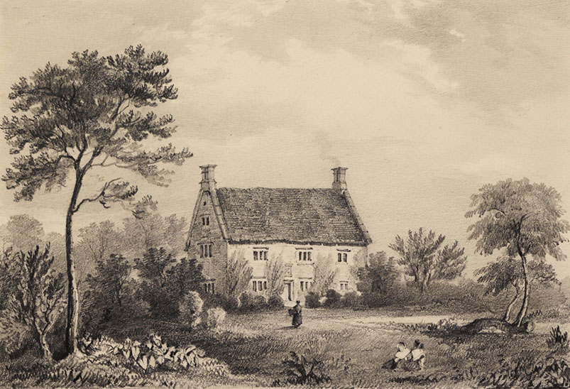 The tree at Woolsthorpe Manor is at the far right of this old picture