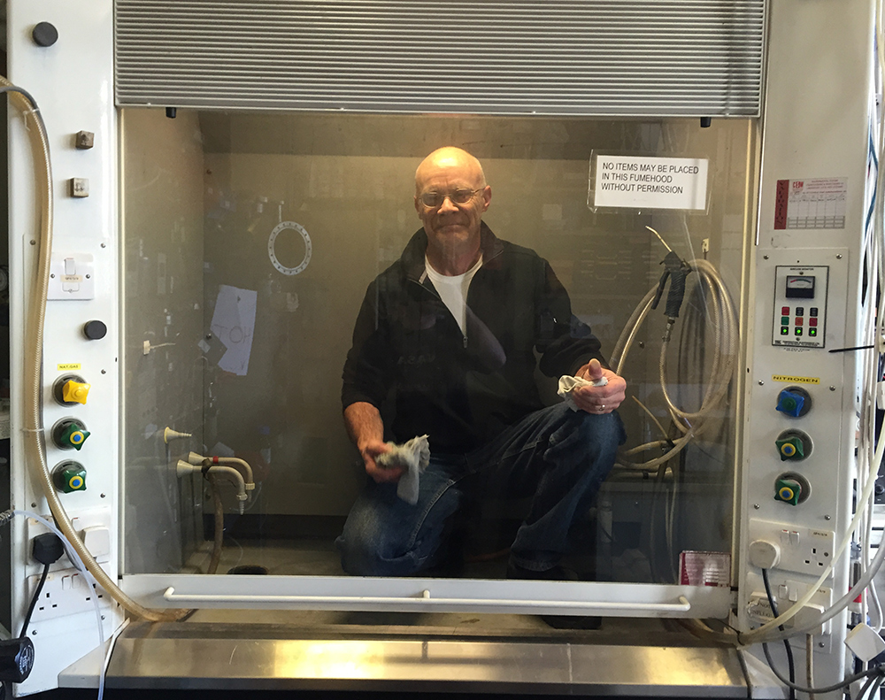 Neil prepares the fumehood
