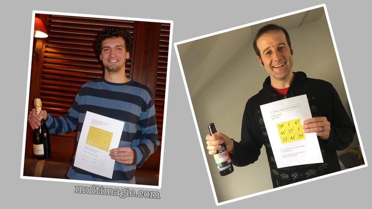 Sebastien Miquel (left) cracked a real Magic Square... Matt was less successful but equally jubilant