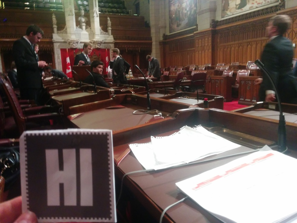 Anthony at a Mock Parliament in the Canadian Senate