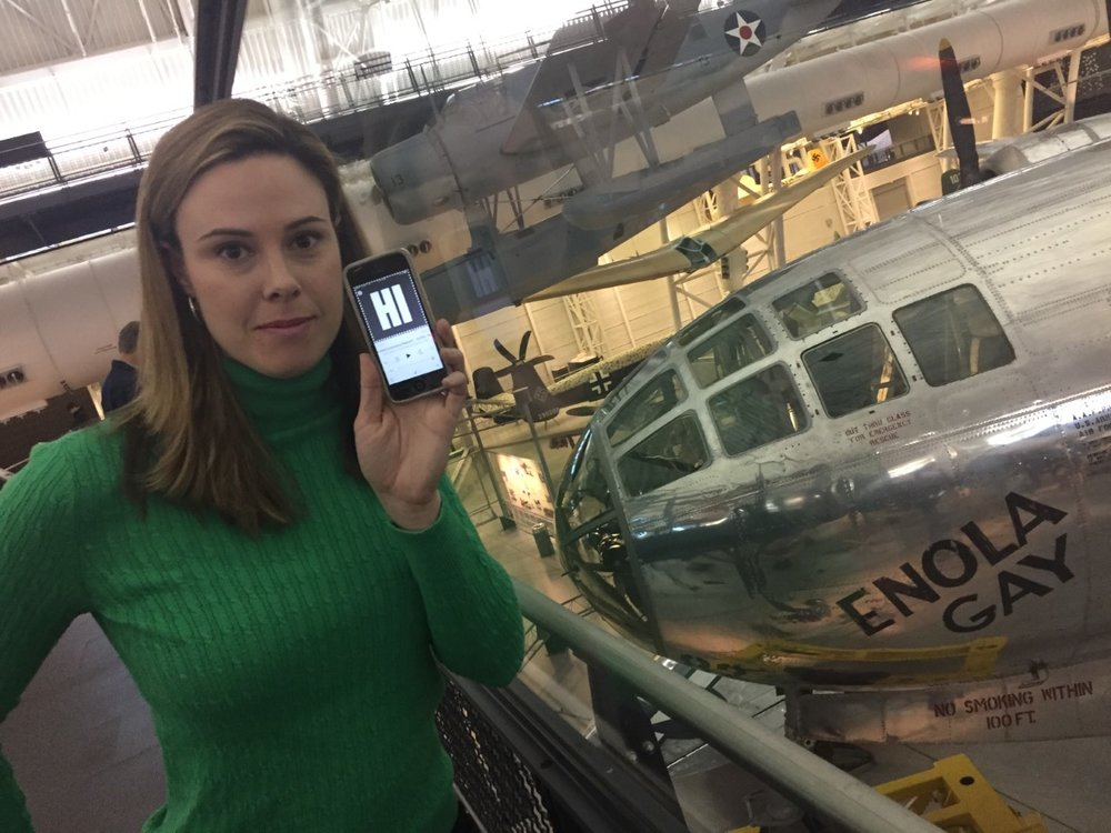 Catherine at the Enola Gay