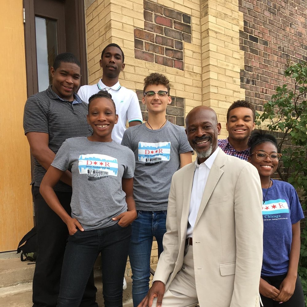 Benjamin (center) with the 2017 Chicago Discern staff after a service of commissioning.