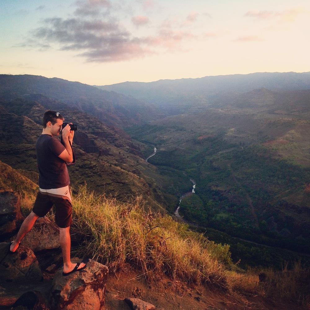 Sunrise over Waimea Canyon.