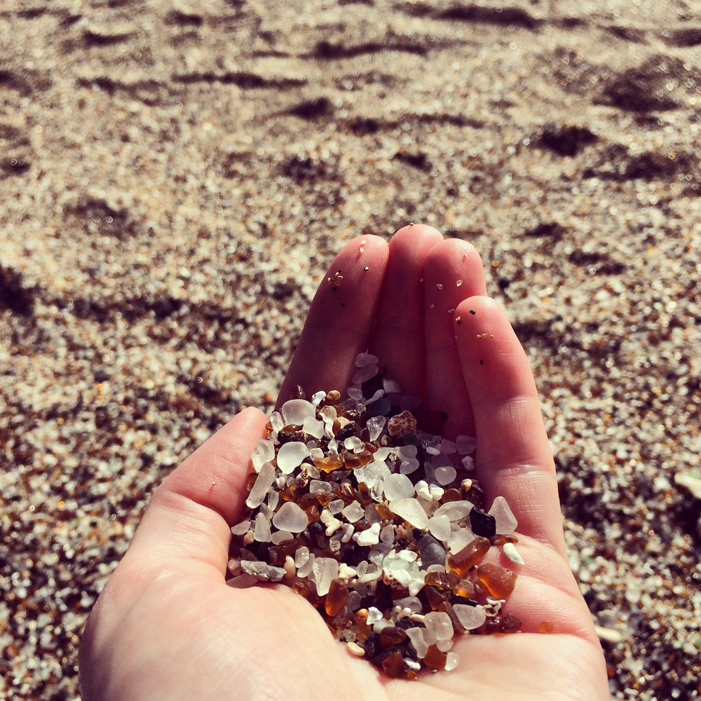 The sand at Glass beach.