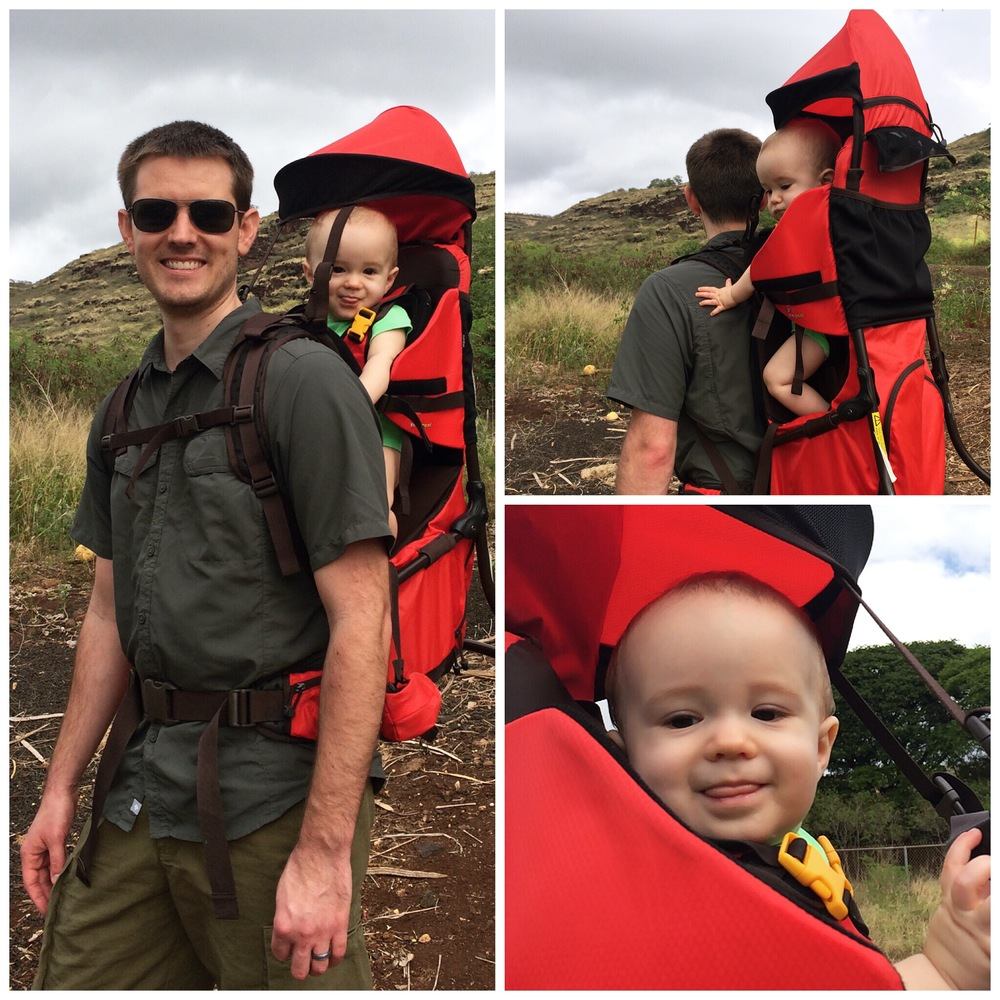 Testing out our new baby carrier. Can't wait to take it on the trails.
