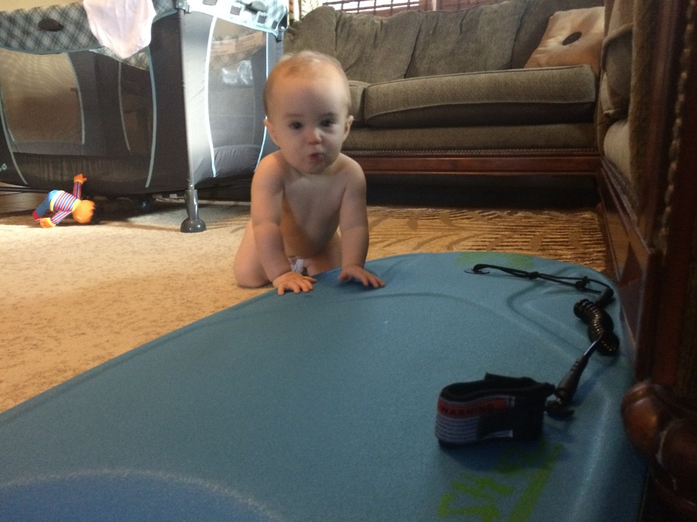 Practicing his body boarding' moves.