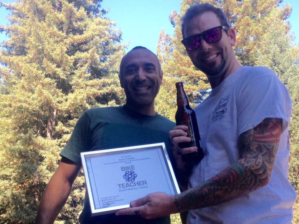 "70 Hour Class  Jason completed the 70 hour class. We celebrated with a ride on Brail Trail at Demonstration Forest Ca. Jason own's five bikes all in different genre's , from beach cruiser turned 26""old school bmx, cx bike, downhill, trail bike and a fat bike. Completed class on September 17th 2015"