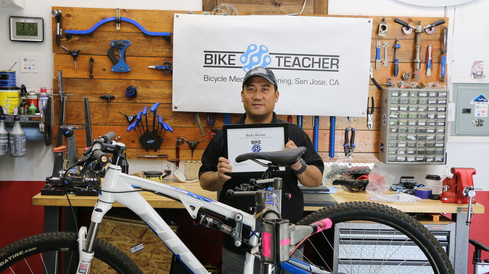I'm looking forward to every session of our 40hr class and after every session, I come home trying out everything I learned and was able to fix my bikes as well as my friends'. Thanks Arthur for your great teaching style. I enjoyed and learned a lot from our sessions and had fun building my first bike. More bikes to build.. - Ricky   April 2017