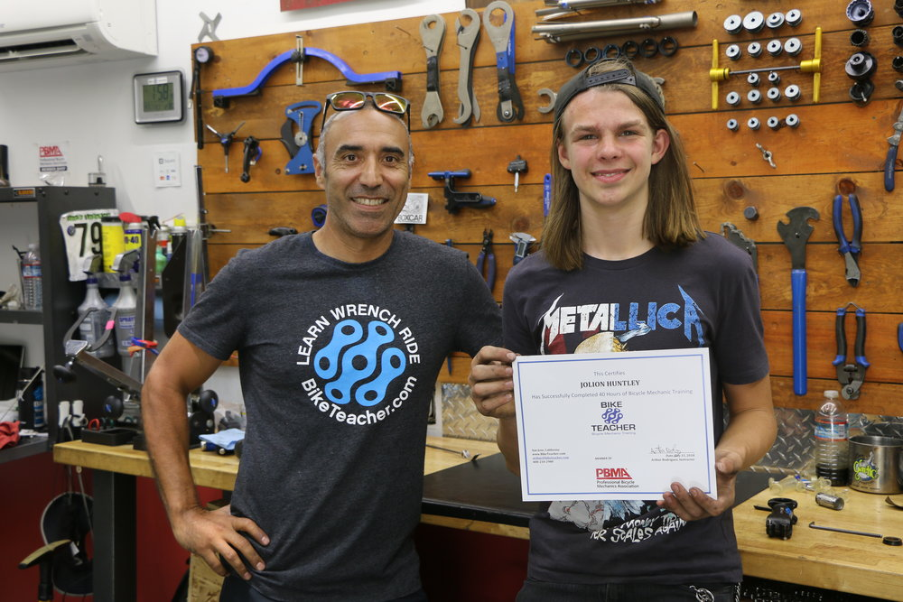 """My teen-age son wanted to learn bike mechanic skills beyond what the local REI courses offered. He found Arthur to be a knowledgeable and patient teacher with a strongly hands-on curriculum, and left the 40-hour course with far more skills and confidence than he had before. When I compare the investment in this training course to a summer camp, this wins hand-down. Highly recommended."" Regards, -Tim - 7/11/18 Menlo Park CA."