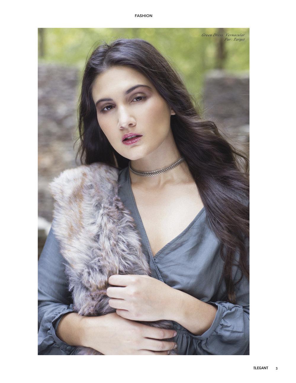 Elegant Magazine December 2017  Model: Ashley D'Antignac  Agency: Click Models of Atlanta  Makeup & Hair: Alicia Smith  Stylist: Carol Jenksy  Assistant Retoucher: Lindsey Bolas