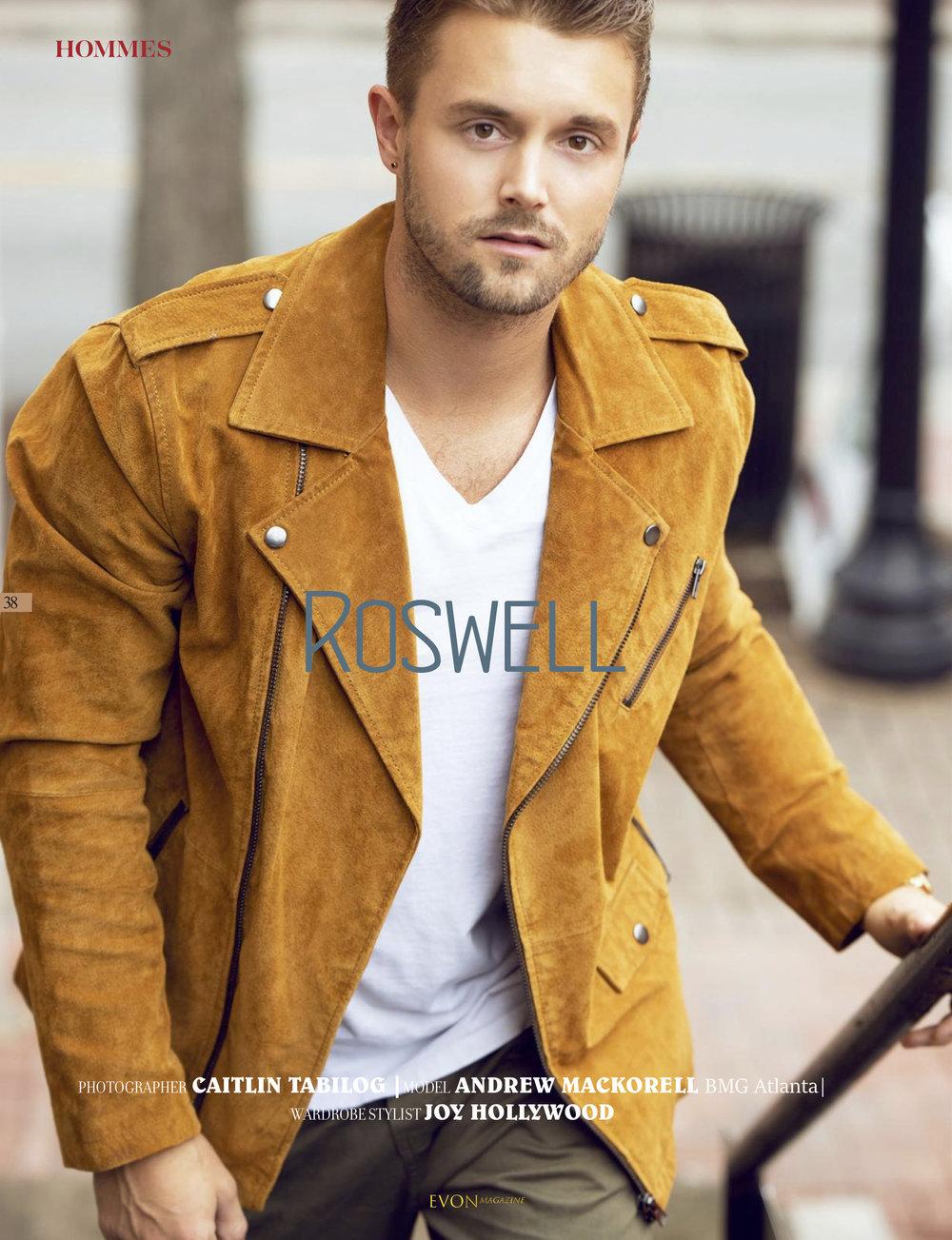 """Roswell"" Published in Evon Magazine  Model: Andrew Mackorell  Agency: BMG Atlanta  Stylist: Joy Hollywood"