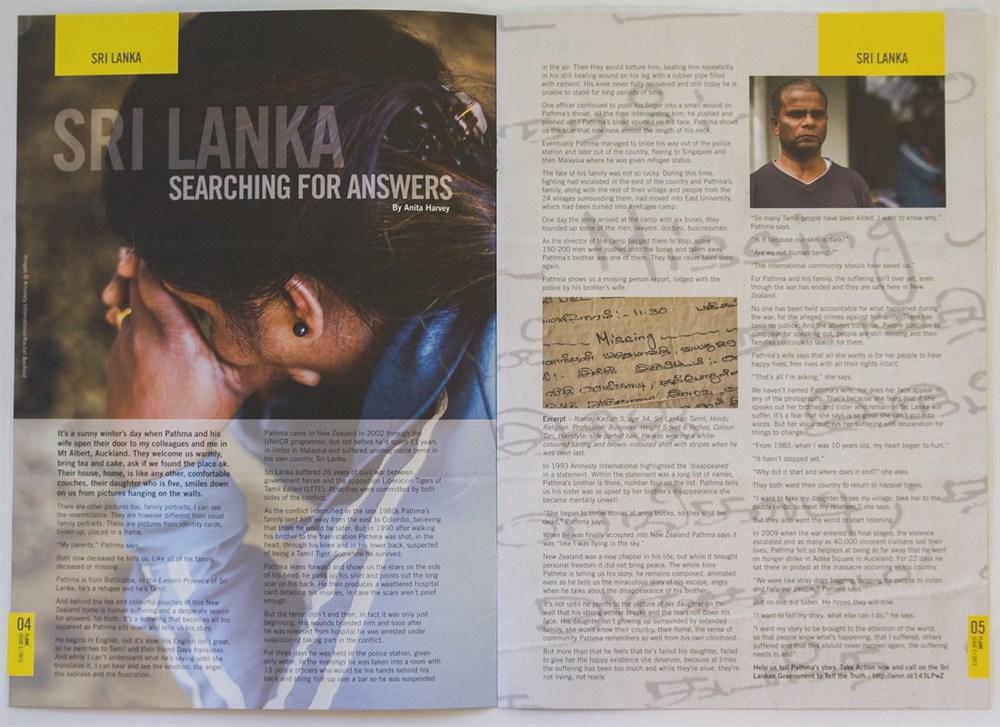 Amnesty International Aotearoa New Zealand Flame magazine, 2013