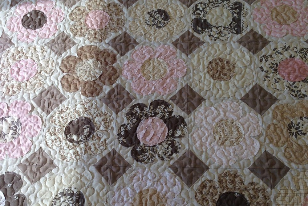 Meander - Our basic meandering pattern adds just the right amount of texture and looks great on most quilts.Large: 1.5 cents per square inch (LxWx$.015)X-Large: 1.25 cents per square inch (LxWx$.0125)