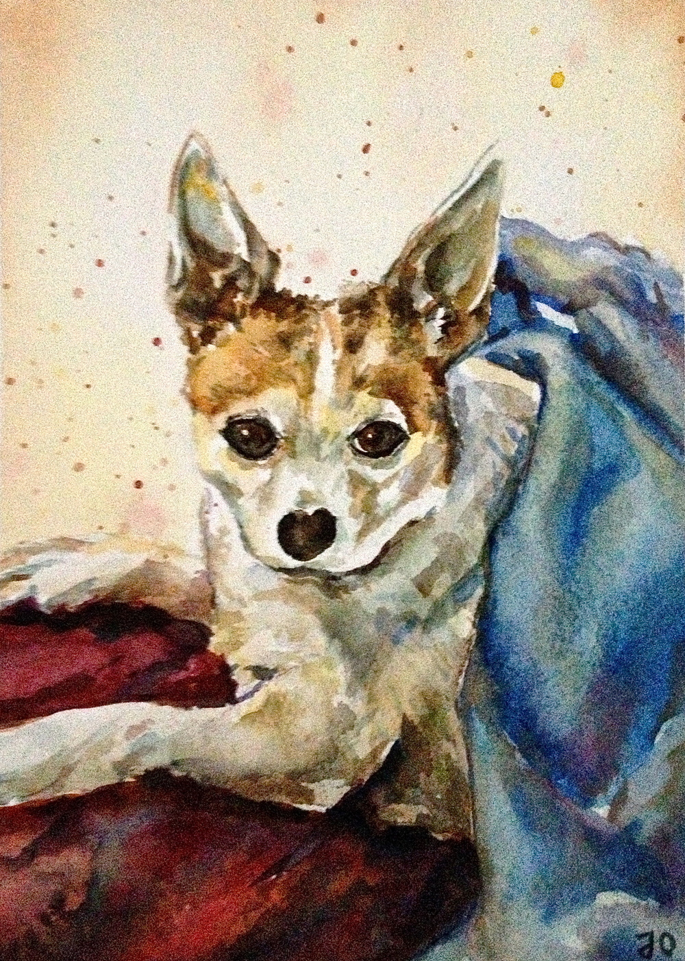 Custom pet portrait                                                      5x7 watercolor                                                  Commissioned - sold