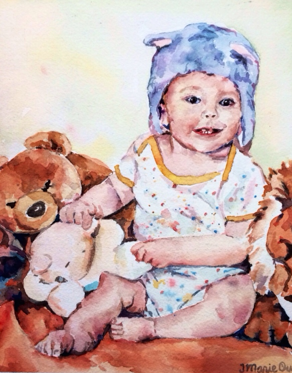 Custom child portrait                                                       8x10 watercolor                                                    Commissioned - sold