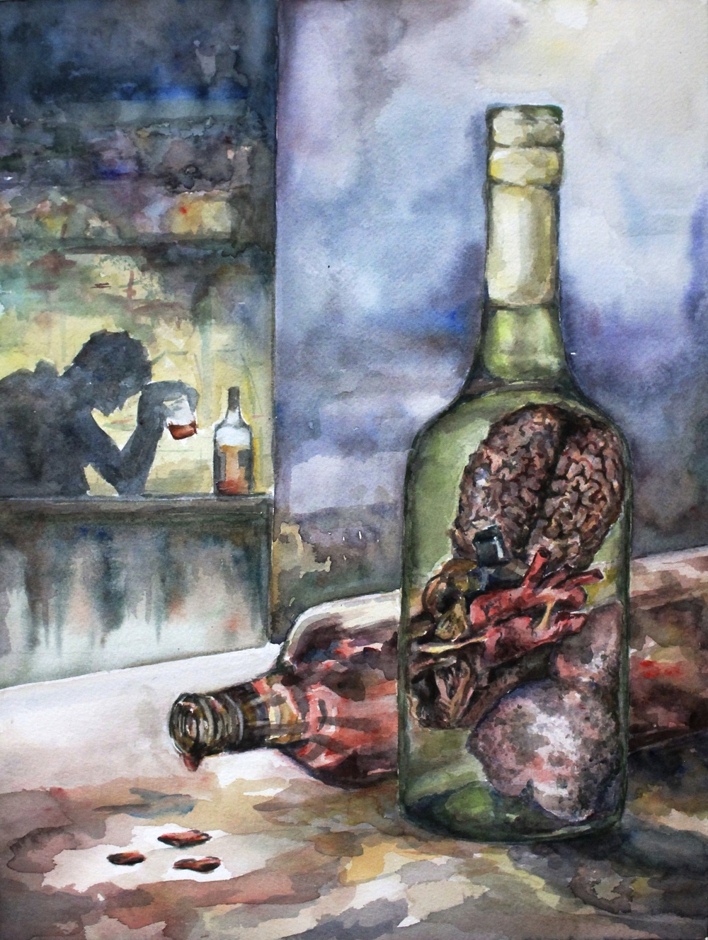 Life in a Bottle                                                                                                                                                                      12x16 watercolor                                       Honorable mention         Exhibited in Alcohol Awareness Art Competition - Italy 2014