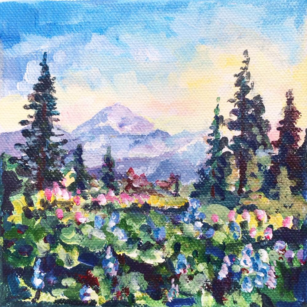 No. 2: Mt. Rainier                                 5x5,acrylic                                    Sold