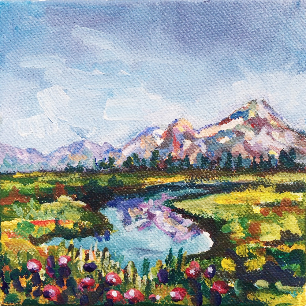 No. 3: Mt. Jefferson, Idaho                  5x5,acrylic                     Sold