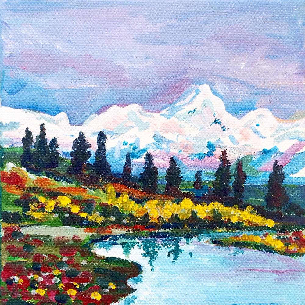 Alaskan Spring                 5x5,acrylic                    Sold
