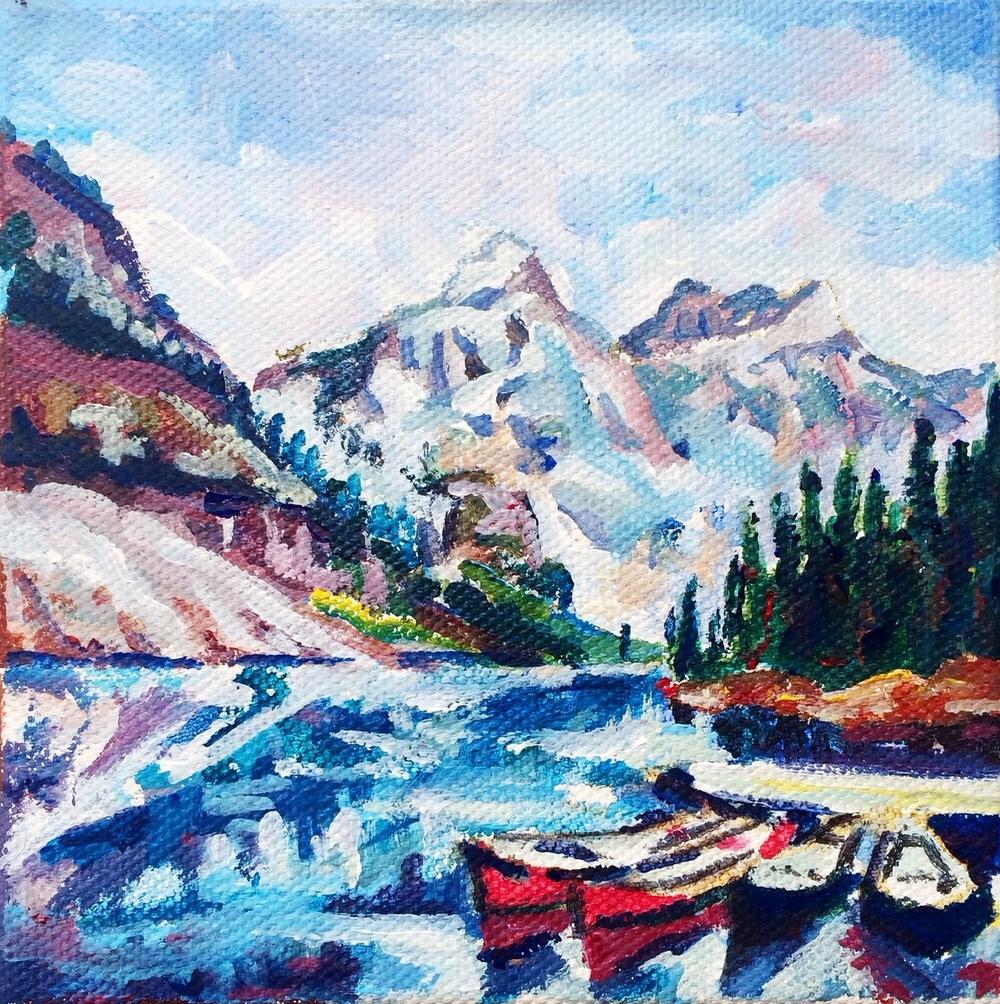 No. 4: Moraine Lake, Canada                               5x5,acrylic                                 Sold