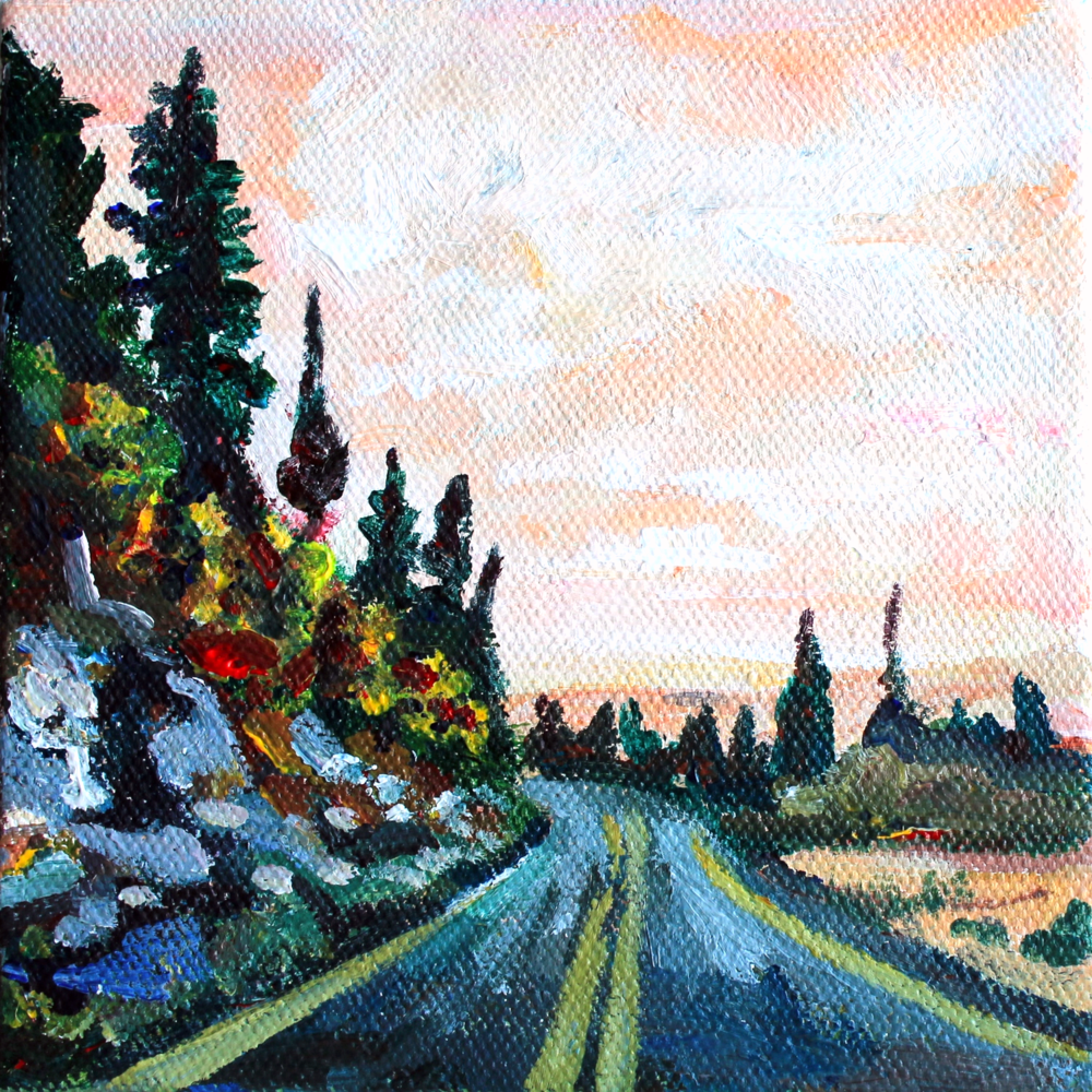 On the Road                                       5x5, acrylic                                         Sold