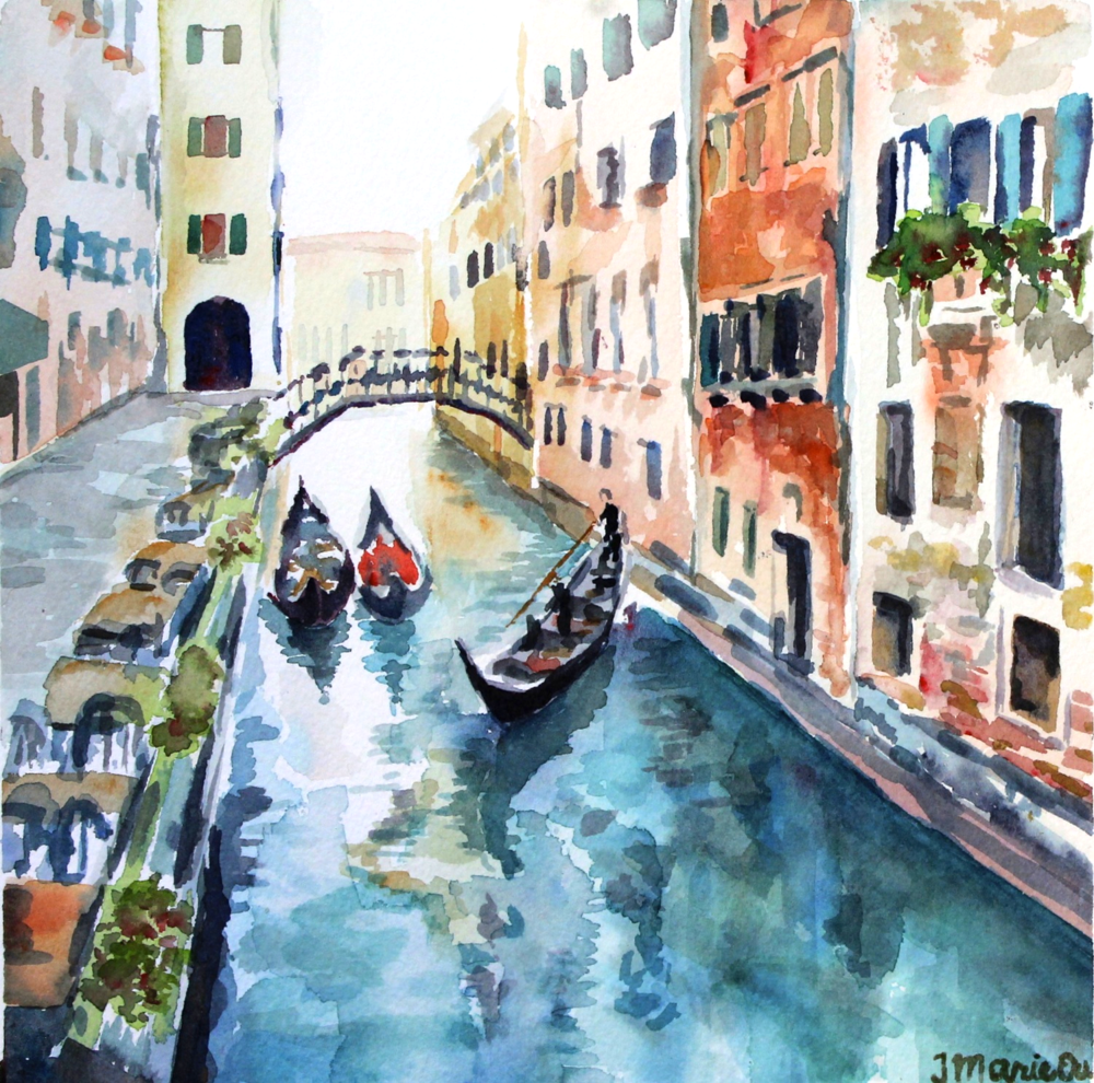 Gondolas in Venice (2014),  8x8, watercolor