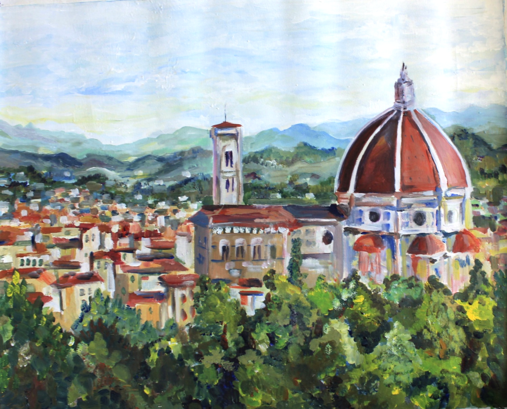 The Duomo (Florence), 16x20, acrylic.  Plein air