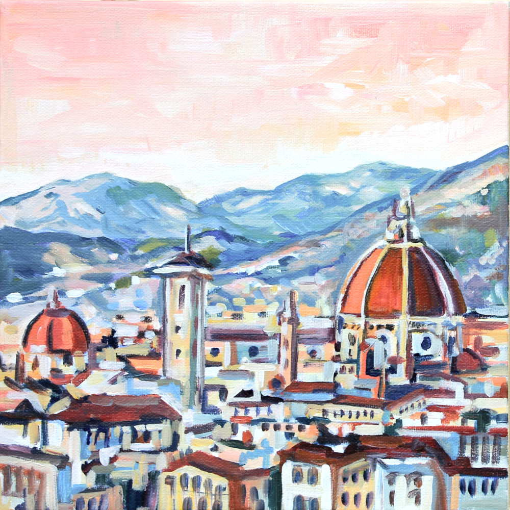 Sunrise in Florence (2015). 10x10, acrylic,