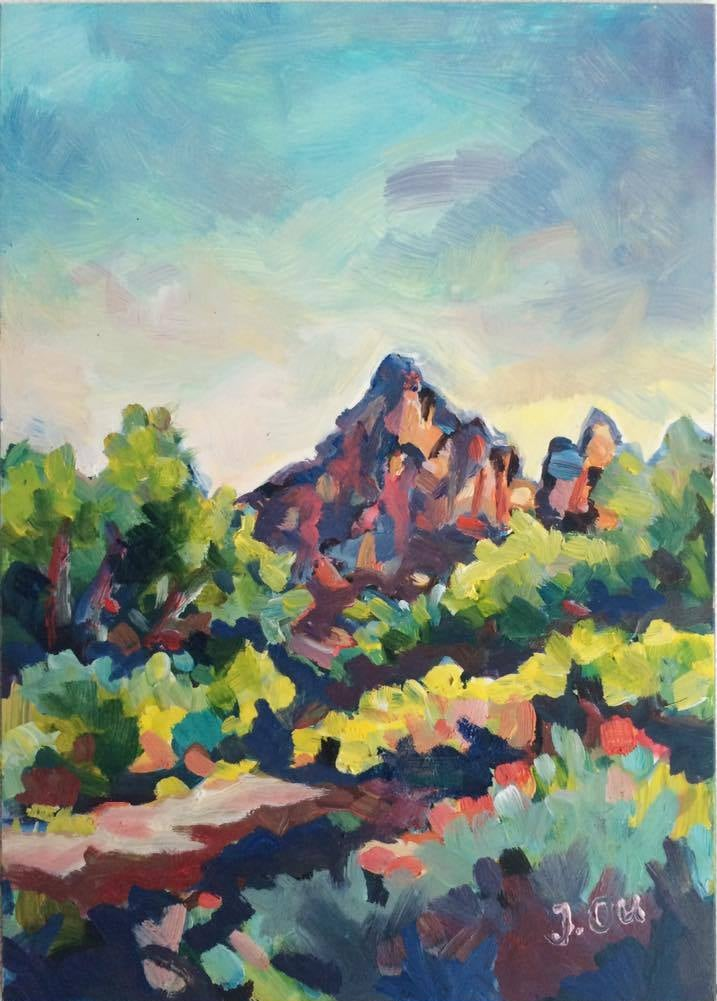 When in ZIon 5x7, oil on board