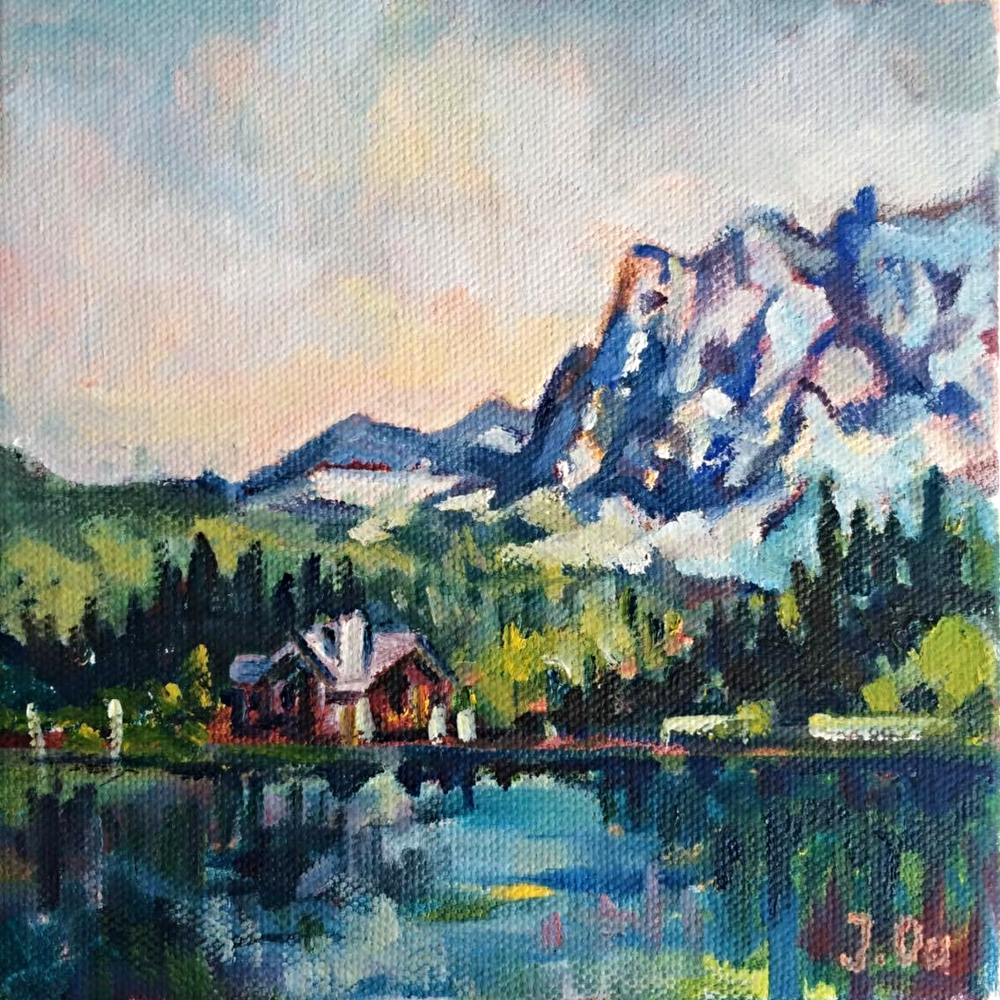 Emerald Lake (Yoho National Park, British Columbia) 6x6, oil on canvas - SOLD