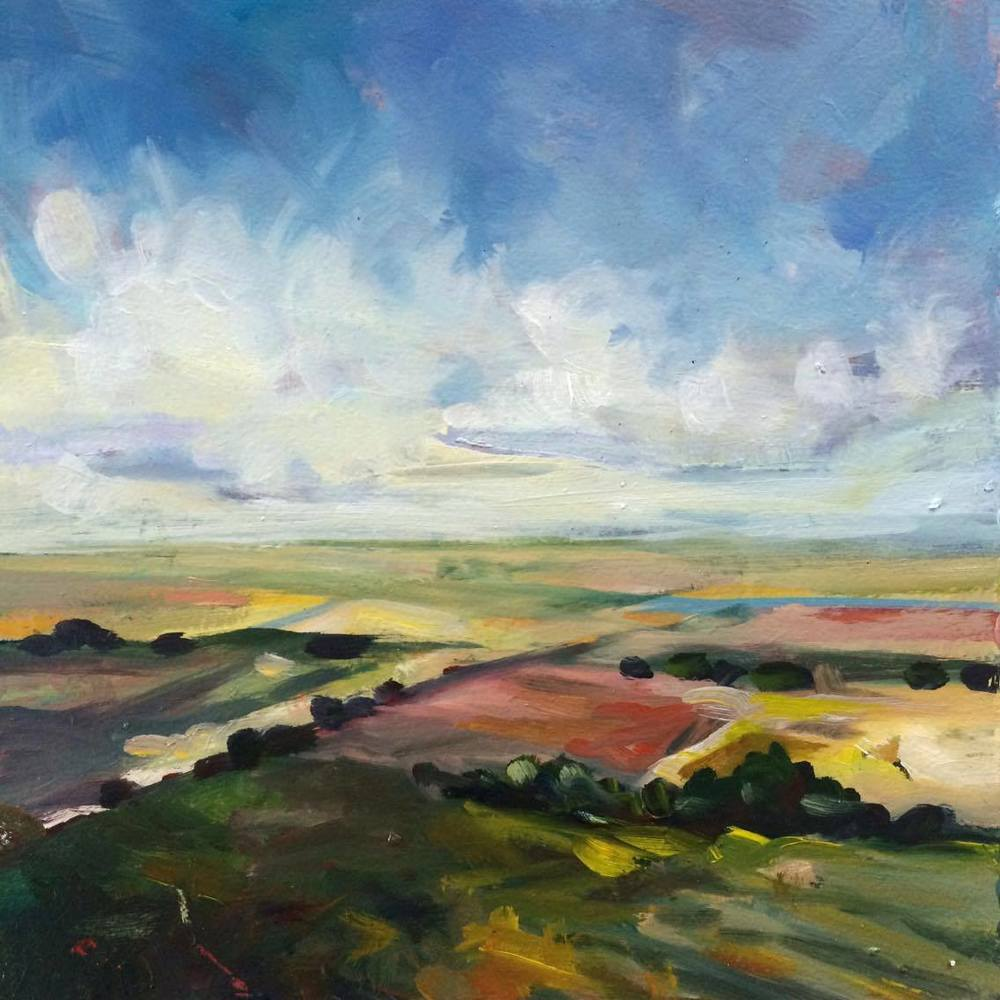 Fields of Seville, no.1 6x6, oil on birch panel. Sold