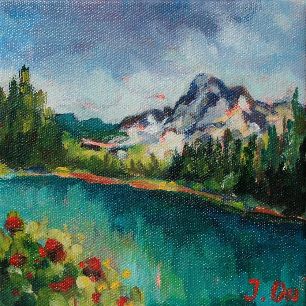 "Spring in the Mountains 6x6"", oil on canvas - sold."