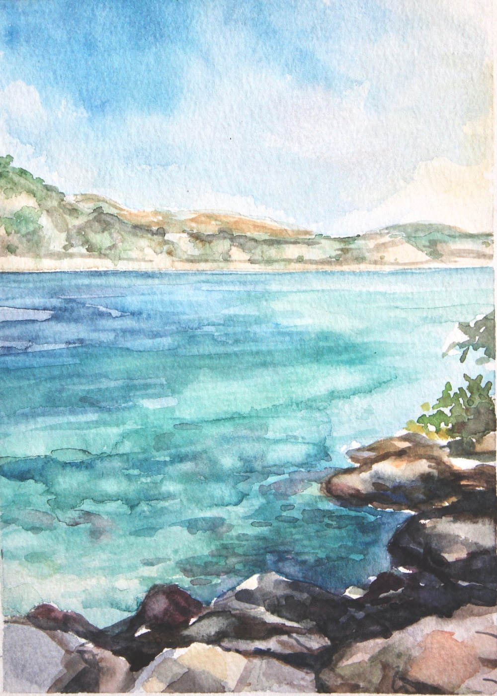 Island of Lokrum  5x7, watercolor. Available