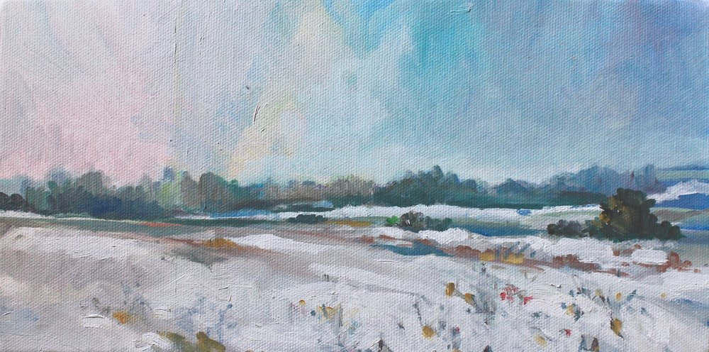 The First Snow, 6x12 - sold