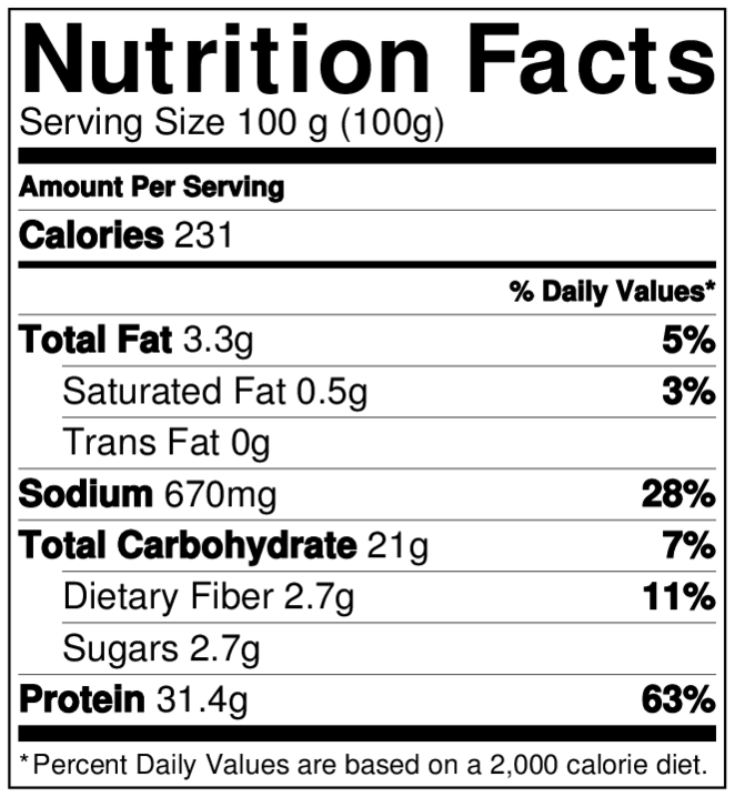 AROMATICO NutritionLabel.png