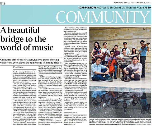 """The chasm between ideals and reality often can't be crossed, but build the most beautiful bridge you can anyway."" We're featured on page B12 of the Community section in today's copy of The Straits Times!"