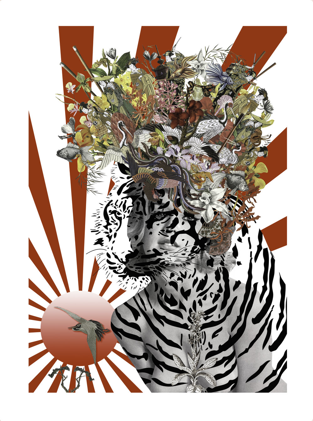 ANIMAL ATTRACTION: SUKI LIMITED EDITION PRINT of 25 WITH HAND GOLD LEAFING SOMERSET PAPER WITH HAND TORN EDGES A1 SIZE