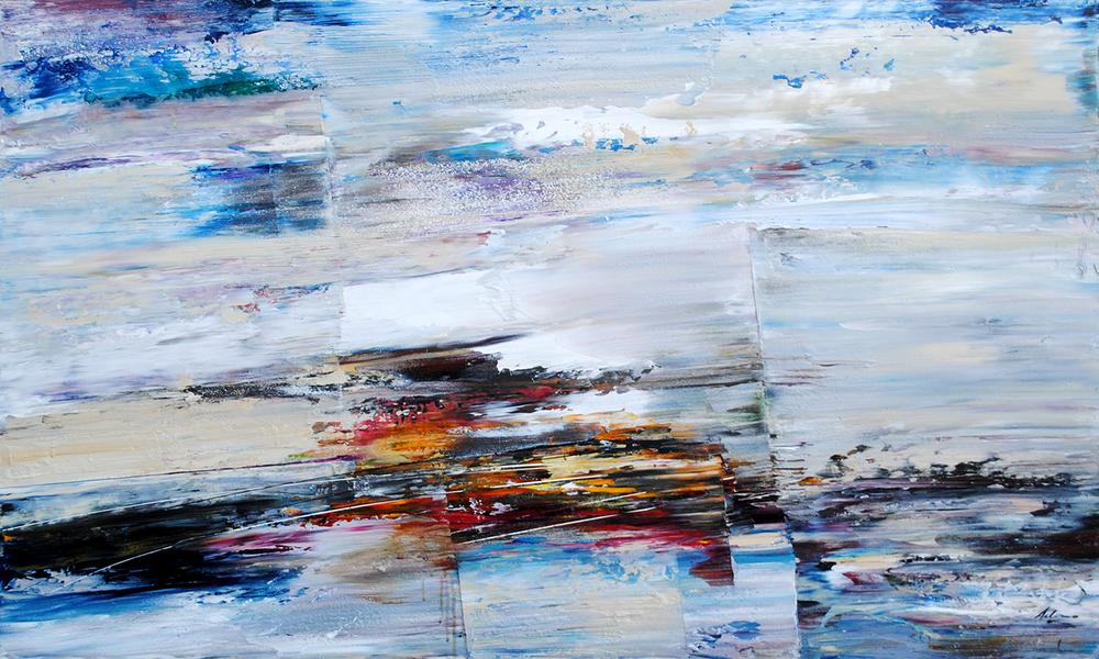"""title: La Gran Vista size: 36"""" x 60"""" medium: acrylic and mixed media"""