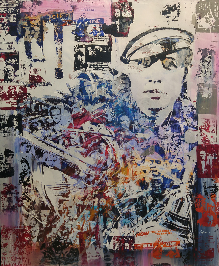 "The Wild One 46"" x 56"" mixed media on wood panel"