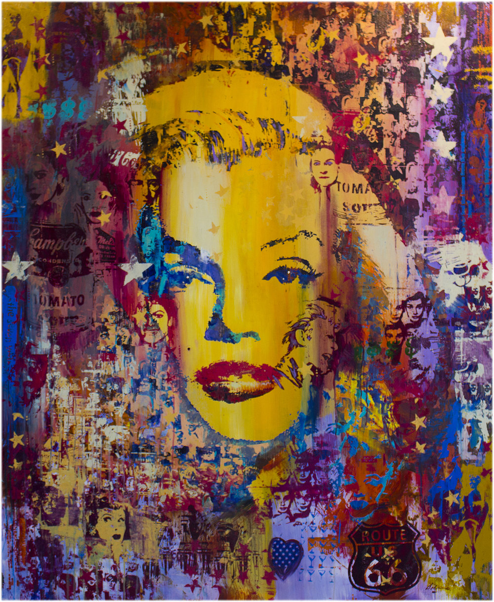 """Stardust Marilyn"" 46"" x 56"" mixed media on wood panel"