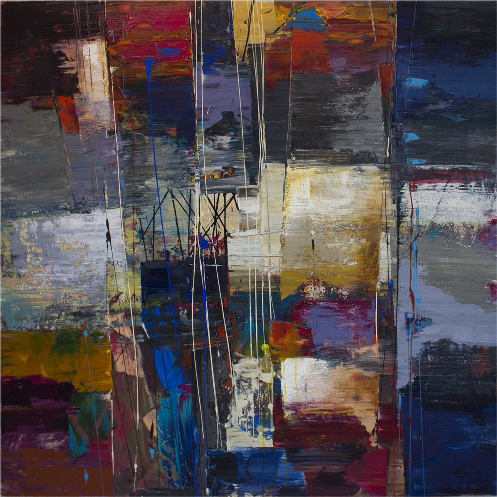 "Commute: Ritorno 48"" x48"" mixed media on canvas"