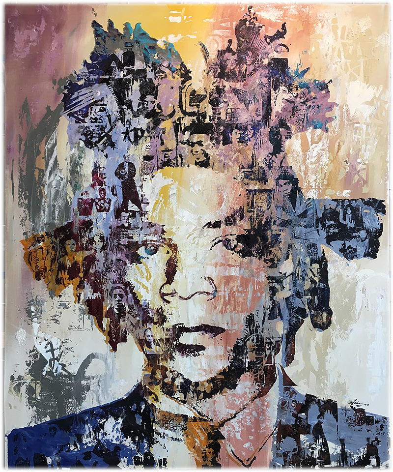 """Mon Basquiat"" 40"" x 48"" Acrylic and mixed media on wood panel"