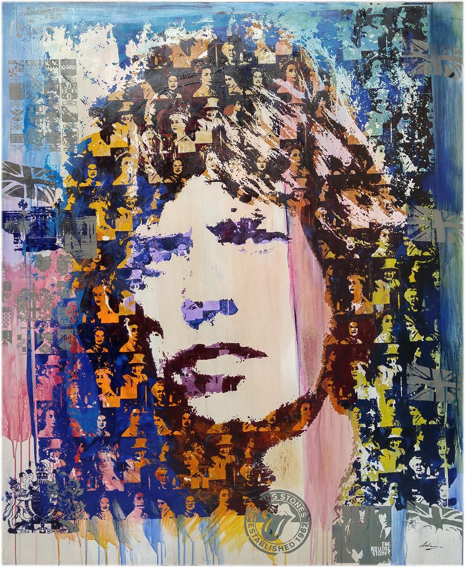 """Sir Mick 46"""" x 56"""" Acrylic on wood panel"""