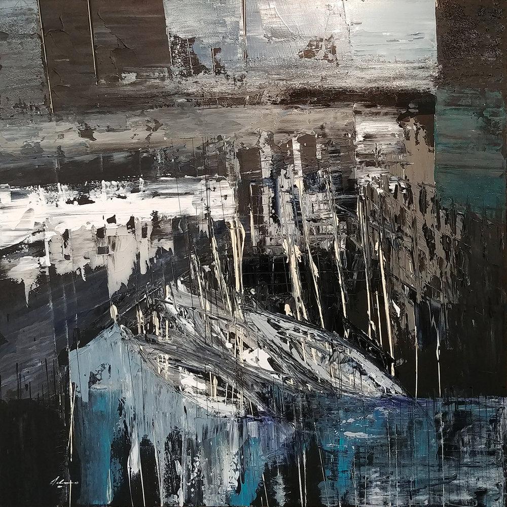 """Portofino 48"""" x 48"""" Acrylic and mixed media on canvas"""