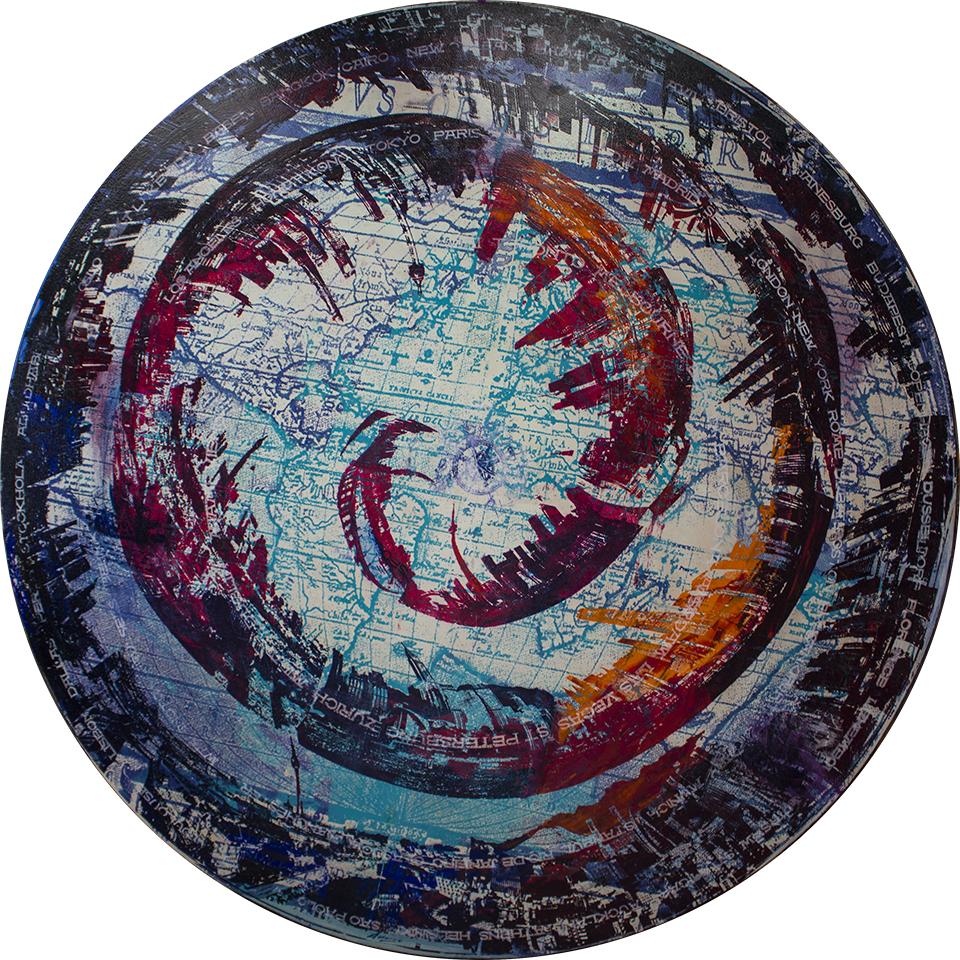 """New Atlantis 72"""" dia Circle Acrylic and mixed media on panel."""