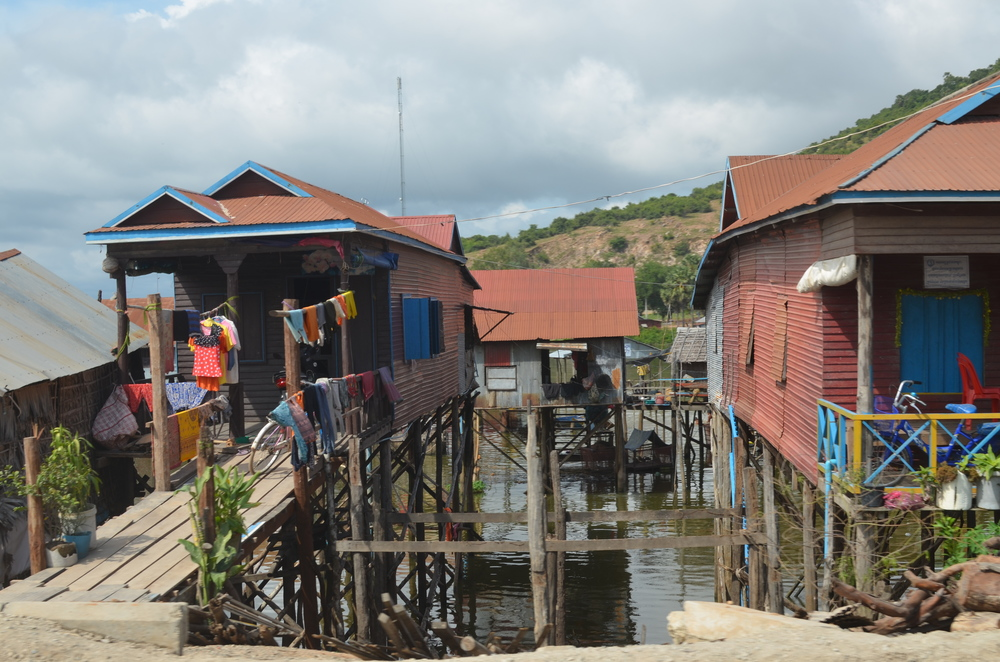Houses on built on stilts at the edge of Tonle Sap.