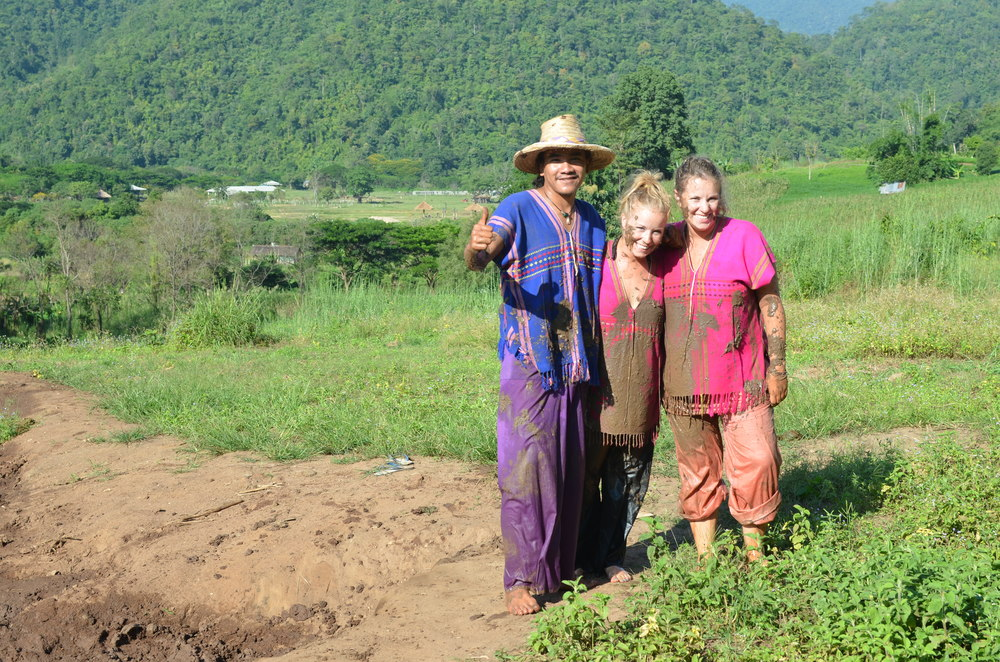 My sister and I with our guide after the mud bath
