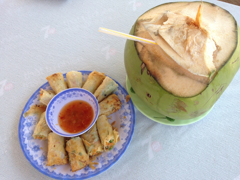 Spring rolls and a fresh coconut