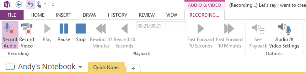 OneNote Audio
